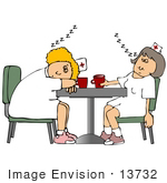#13732 To Worn Out Registered Nurses Sleeping At Break Time Clipart