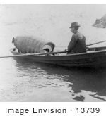 #13739 Picture Of Annie Edson Taylor In A Barrel Being Rowed To A Drop Off Point At Niagara