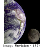 #1374 Photo Of The Earth And Moon In The Blackness Of Outer Space