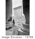 #13759 Picture Of A Man Leaning On The Base Of The Temple Of Bacchus With A View On The Temple Of Jupiter Baalbek