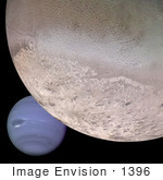 #1396 Astronomy Stock Photo Of Planet Neptune And Triton