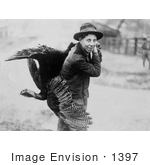 #1397 Photo Of A Young Man Carrying A Thanksgiving Turkey On His Back