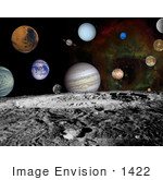 #1422 Stock Photo of the Planets of the Solar System With Craters of the Moon by JVPD