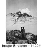 #14224 Picture of a Person Taking Moving Pictures of Mount Katmai Volcano, Alaska by JVPD