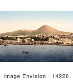 #14226 Picture Of Boats At Naples Mount Vesuvius In The Background Italy