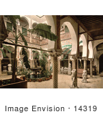 #14319 Picture Of The Museum Entrance Hall With Banana Trees Fountains And Statues Algeria