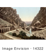 #14322 Picture Of A Road Bridge And Stream In A Ravine El Cantara Algeria