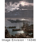 #14346 Picture Of Ships In The Algiers Harbor At Night Algeria