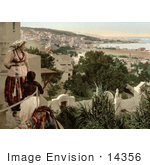#14356 Picture Of A Woman And Child Viewing The City Of Algiers From A Terrace Algeria