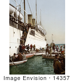 #14357 Picture Of People Boarding On Smaller Boats Leaving A Big Ship Algeria