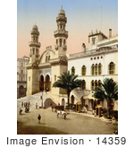 #14359 Picture Of Steret Scene In Front Of The Cathedral Algiers Algeria