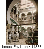 #14363 Picture Of A Courtyard With Trees Statues And Fountains Algiers Algeria