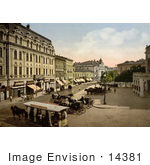 #14381 Picture Of Horse Drawn Carriages And Trolly Theaterplatz Bukharest Rouma