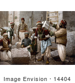 #14404 Picture Of Male Stone Cutters In Jerusalem Israel