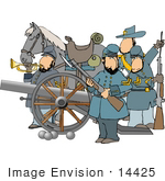 #14425 Four Civil War Soldiers With A Canon And Horse Clipart