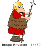 #14430 Scared Roman Soldier With A Spear Clipart