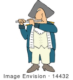 #14432 Revolutionary War Soldier Floutist Clipart