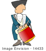 #14433 Revolutionary War Soldier Man Drumming Clipart