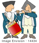 #14434 Revolutionary War Soldiers Playing The Drums And Flute Clipart