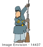 #14437 American Civil War Soldier Preparing His Rifle for Battle Clipart by DJArt