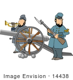 #14438 Two Civil War Soldiers With A Canon Clipart