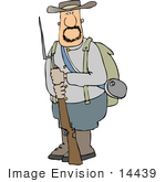 #14439 Confederate Soldier Holding A Socket Bayonet Rifle Clipart