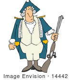 #14442 Revolutionary War Soldier In A Wig And Uniform Holding A Rifle Clipart