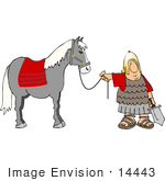 #14443 Roman Solder Holding A Sword And The Reins To His Horse Clipart