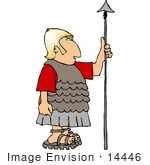 #14446 Roman Soldier in Golden Helmet, Holding a Spear Clipart by DJArt