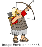 #14448 Roman Archer Soldier In Uniform Sandals And Gold Helmet Aiming A Bow And Arrow Clipart
