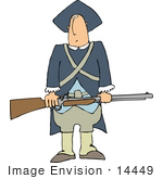 #14449 Revolutionary War Soldier Holding A Rifle Clipart