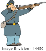 #14450 Civil War Soldier Aiming And Shooting His Rifle Clipart