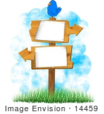 #14459 Bird On Blank Signs With Arrows Clipart