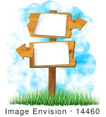 #14460 Two Blank Signs With Arrows Clipart