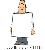 #14461 Middle Aged Caucasian Man Wearing A Blank Sign Clipart