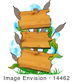 #14462 Three Tiered Wooden Sign And Cattails In A Swamp Clipart