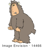 #14466 Bigfoot Sasquatch With Horns Clenching Fists Because Its Angry Clipart