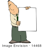 #14468 Caucasian Businessman Holding A Blank White Board Clipart
