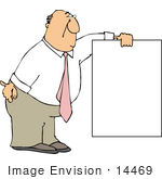 #14469 Middle Aged Caucasian Business Man Holding A Blank Sign Clipart