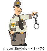 #14475 Cop Holding A Pistil And Handcuffs Clipart