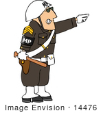 #14476 Military Police Officer In Uniform Pointing And Holding A Club Clipart