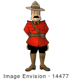 #14477 Mountie Man In A Red Uniform Clipart