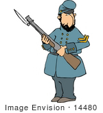 #14480 Soldier Holding A Bayonet Rifle Clipart