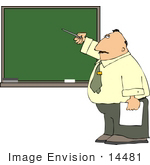 #14481 Middle Aged Caucasian Male Teacher Pointing To A Chalkboard Clipart
