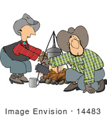 #14483 Cowboy Men Cooking At A Campfire Clipart