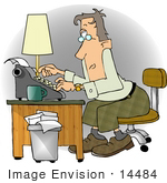 #14484 Middle Aged Caucasian Author Writer Using A Typewriter At A Desk Clipart