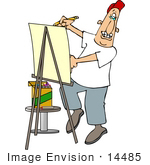 #14485 Caricature Artist Using An Easel And Crayons Clipart