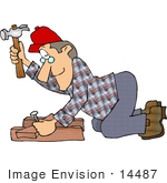 #14487 Carpenter Man Hammering A Nail Into Wood Clipart