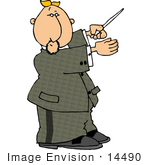 #14490 Middle Aged Caucasian Conductor Man Holding A Conducting Baton Clipart