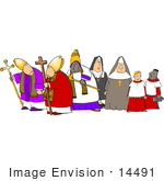 #14491 Catholic Bishops Nuns And Altar Boys Clipart